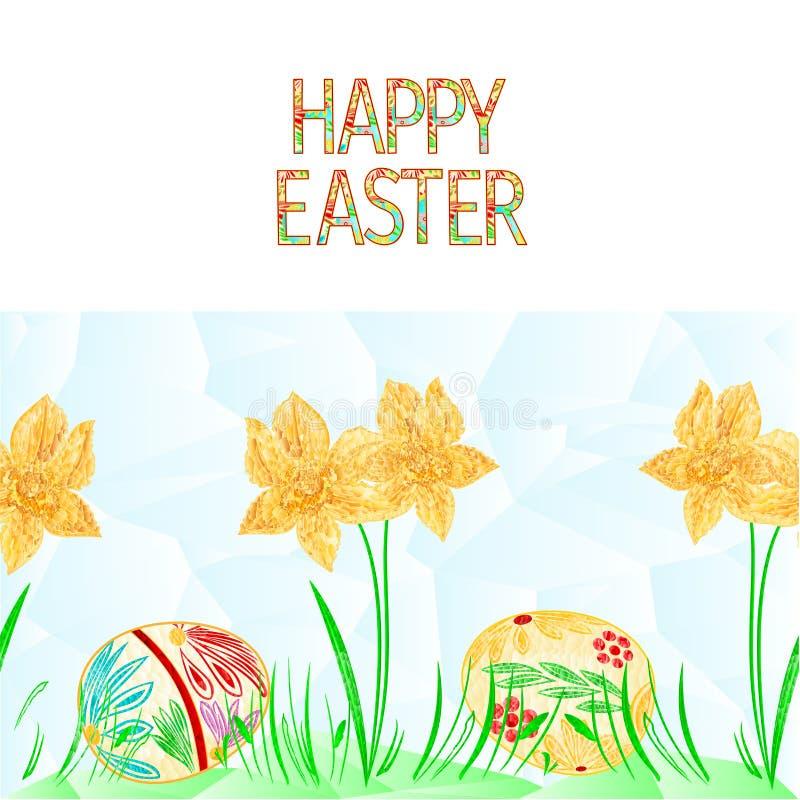 Jonquille de fond de frontière heureuse de Pâques et oeufs de pâques sans couture avec des polygones d'herbe illustration de vecteur