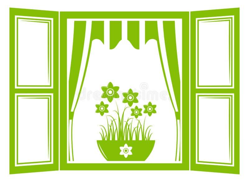 Jonquilles dans la fenêtre illustration de vecteur