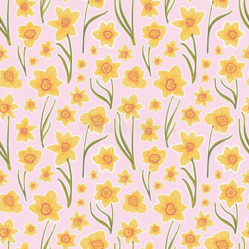 Jonquilles jaunes sur le rose - bouquet stylis? de jonquille d'art populaire avec un effet d'autocollant Rose et r?tro palette de photographie stock libre de droits