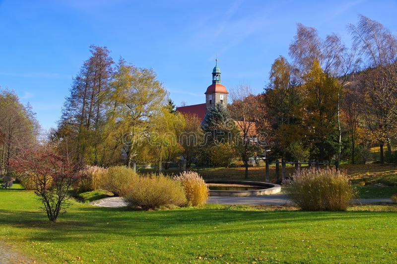 Jonsdorf Park and church. In Zittau Mountains stock images