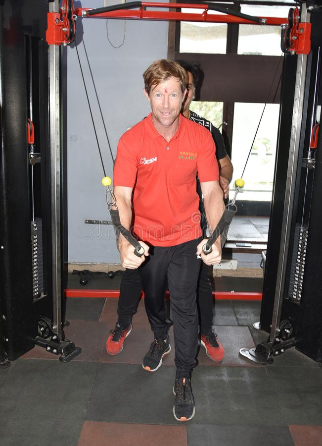 Jonty rhodes visit in Bhopal, India. Jonty rhodes former south African cricketer, who is known as one of the greatest fielder in the world, came to Bhopal, India royalty free stock photos