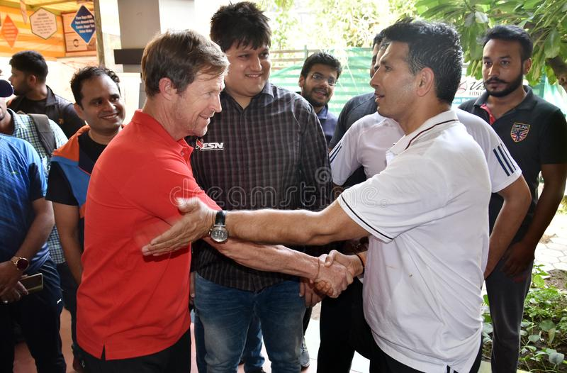 Jonty rhodes visit in Bhopal, India. Jonty rhodes former south African cricketer, who is known as one of the greatest fielder in the world, came to Bhopal, India royalty free stock images
