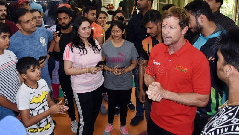 Jonty rhodes visit in Bhopal, India. Jonty rhodes former south African cricketer, who is known as one of the greatest fielder in the world, came to Bhopal, India stock photography