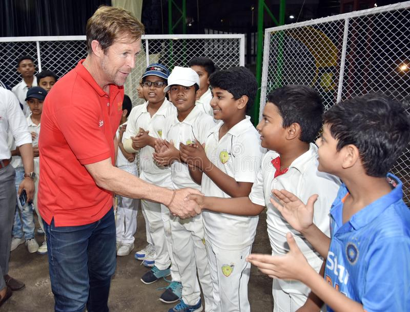 Jonty rhodes visit in Bhopal, India. Jonty rhodes former south African cricketer, who is known as one of the greatest fielder in the world, came to Bhopal, India royalty free stock image