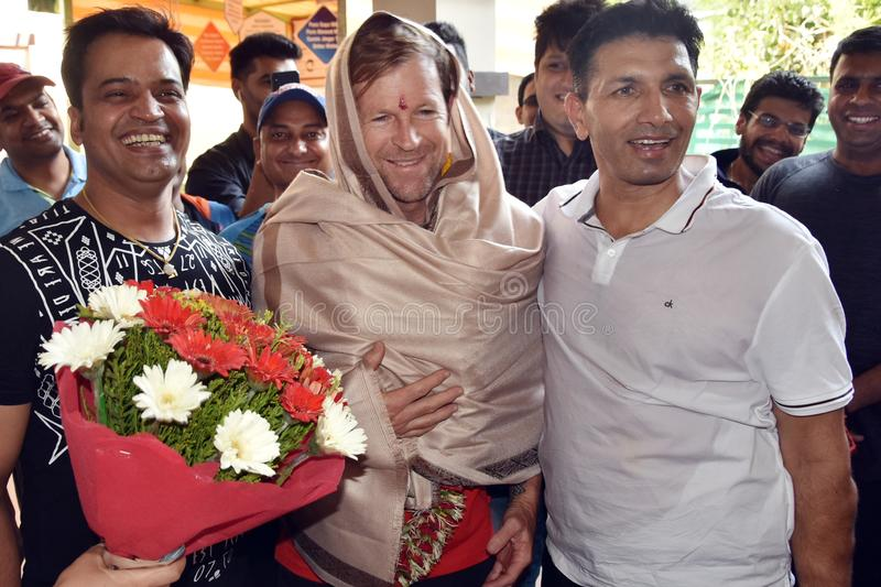 Jonty rhodes visit in Bhopal, India stock photos
