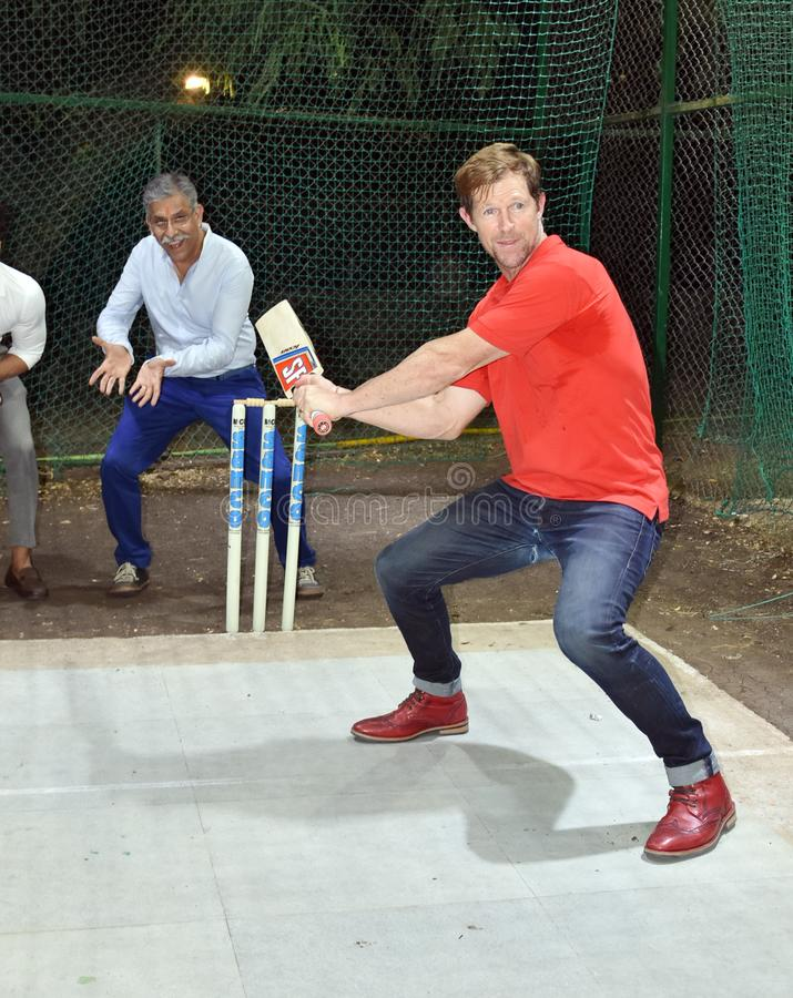 Jonty rhodes visit in Bhopal, India. Jonty rhodes former south African cricketer, who is known as one of the greatest fielder in the world, came to Bhopal, India stock photo