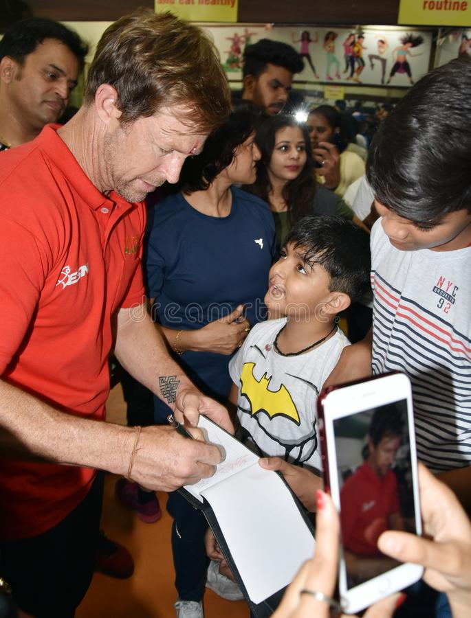 Jonty rhodes visit in Bhopal, India royalty free stock image