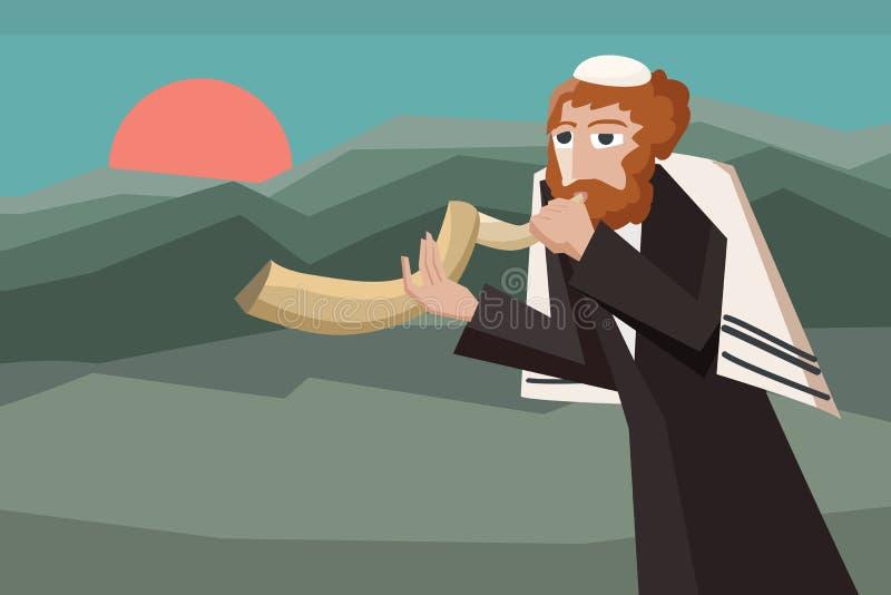 Jood die shofar blazen royalty-vrije illustratie