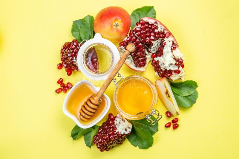 Joods de vakantieconcept van Roshhashana - appelen, honing, granaatappel stock afbeeldingen