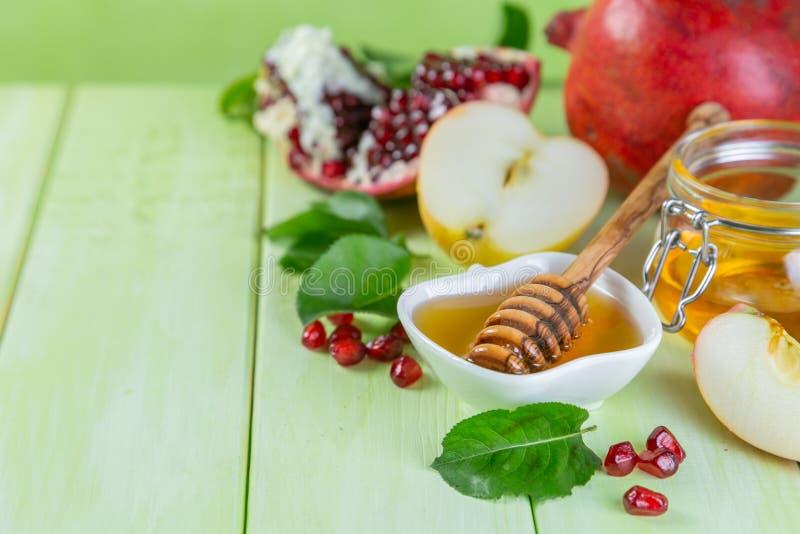 Joods de vakantieconcept van Roshhashana - appelen, honing, granaatappel stock fotografie
