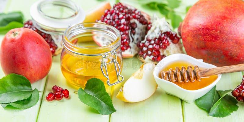 Joods de vakantieconcept van Roshhashana - appelen, honing, granaatappel stock foto