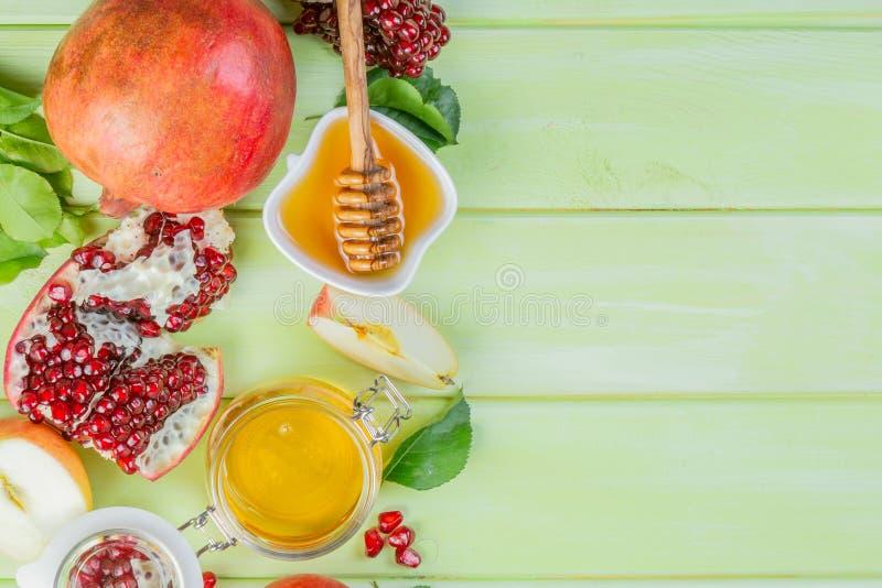 Joods de vakantieconcept van Roshhashana - appelen, honing, granaatappel royalty-vrije stock foto's
