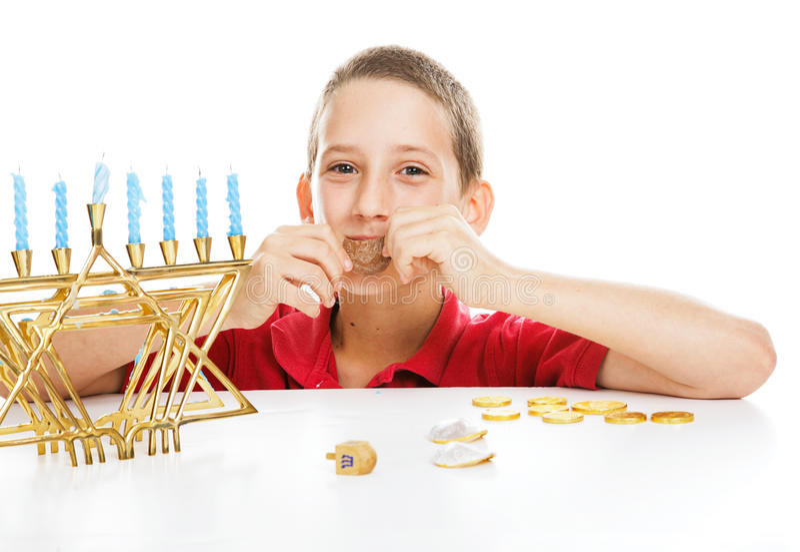 Joods Kind op Chanoeka stock foto