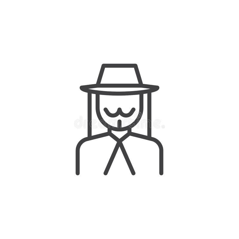 Joods mensenavatar lijnpictogram stock illustratie