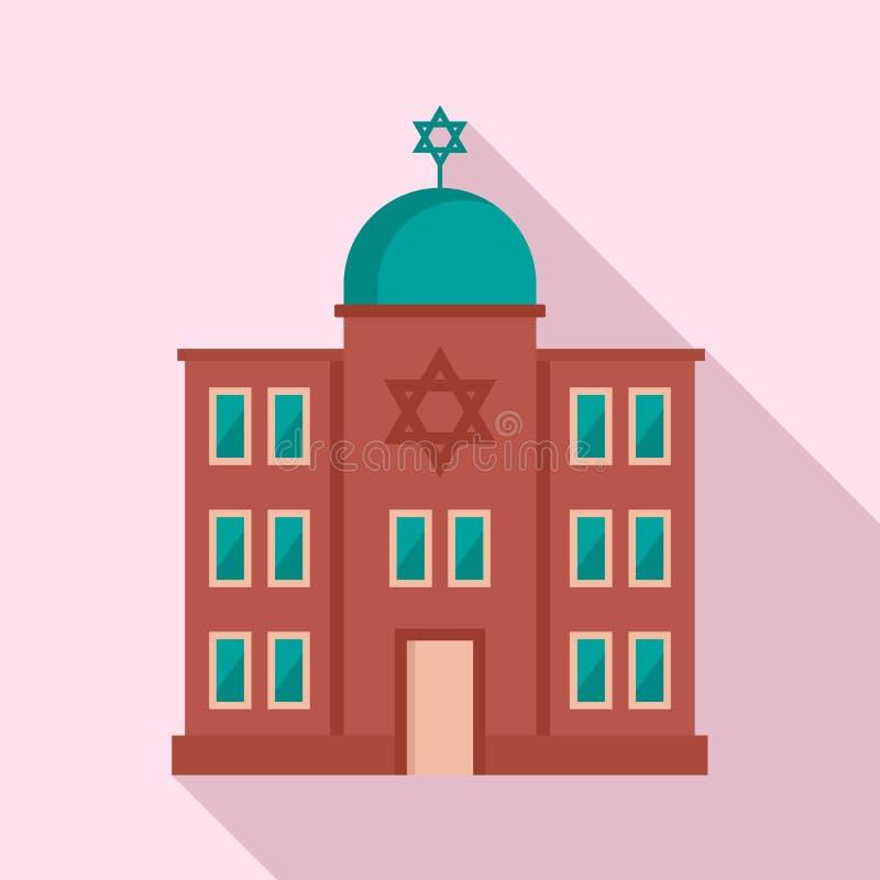 Joods synagogepictogram, vlakke stijl vector illustratie