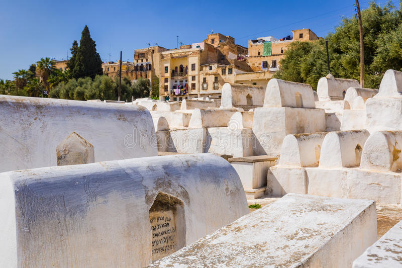 Joodse Begraafplaats in Fes Medina, Marokko royalty-vrije stock foto