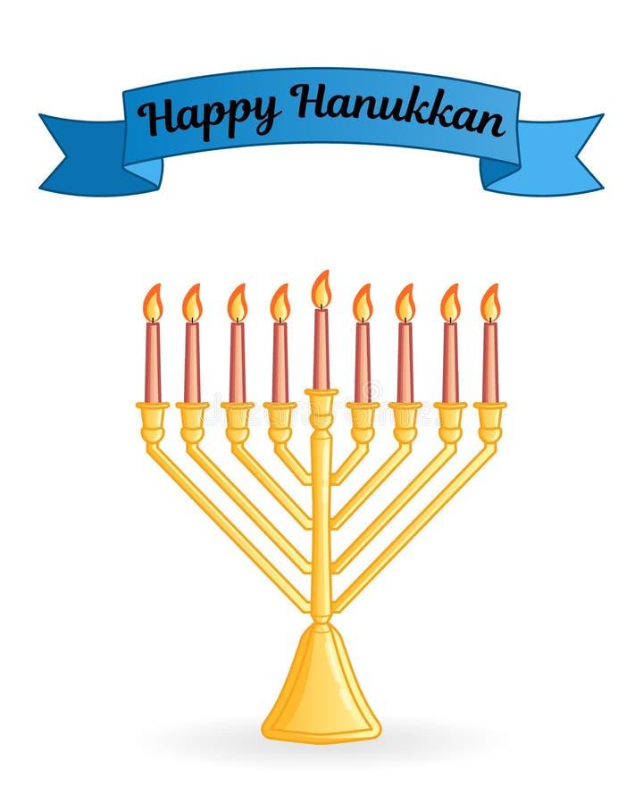 Joodse de groetkaart van het Chanoekafestival vector illustratie