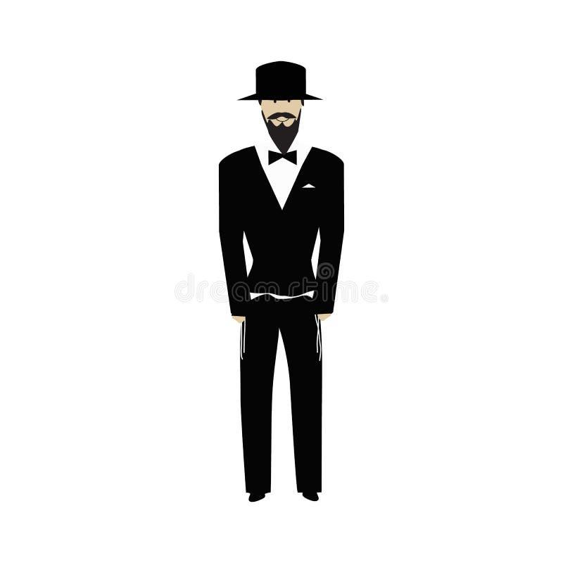 Joodse godsdienstige mens met een baard die hoed dragen jood bruidegom Vectorillustratie op ge?soleerde achtergrond royalty-vrije illustratie