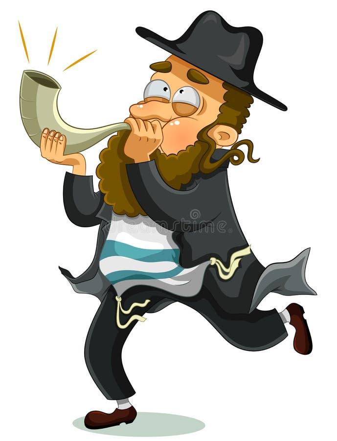 Joodse mens met shofar royalty-vrije illustratie