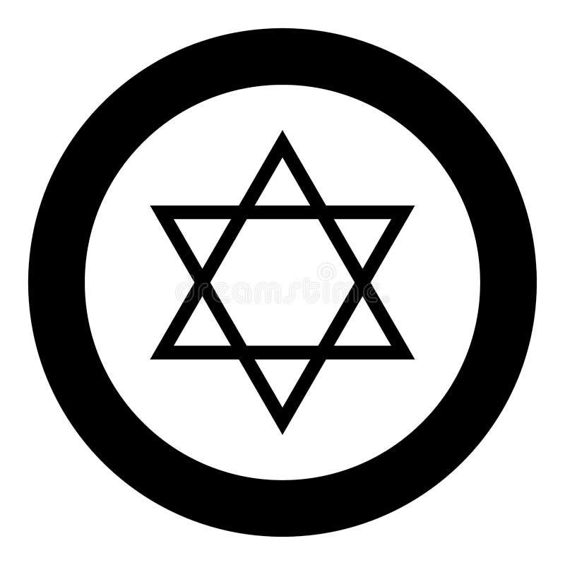 Joodse ster van het pictogram zwarte kleur van David in cirkel royalty-vrije illustratie
