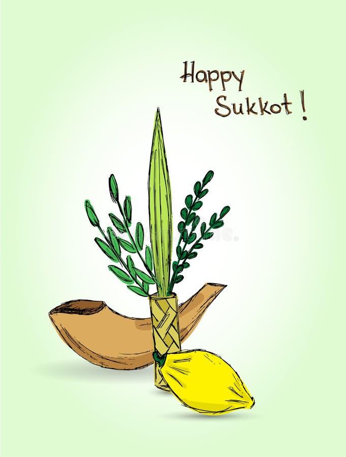 Joodse vakantie Sukkot royalty-vrije illustratie