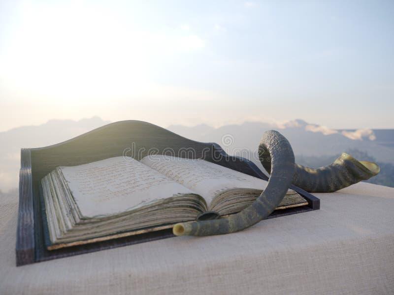 Joodse vakantieachtergrond met oude boek en landschapsconceptenfoto stock fotografie