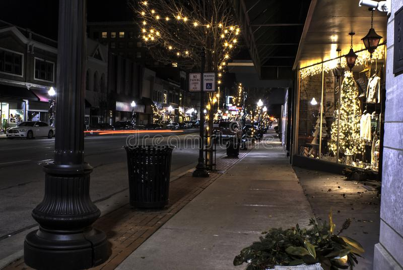 Joplin Missouri do centro no tempo do Natal foto de stock