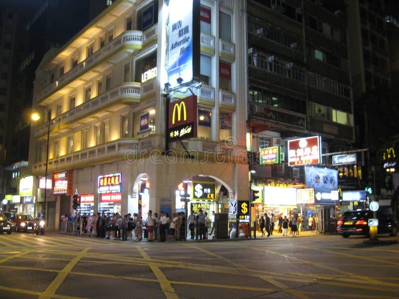 Jordânia, Tsim Sha Tsui, Kowloon, Hong Kong na noite fotografia de stock royalty free
