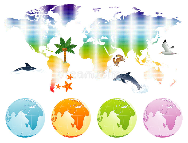 jordöversiktsregnbåge stock illustrationer