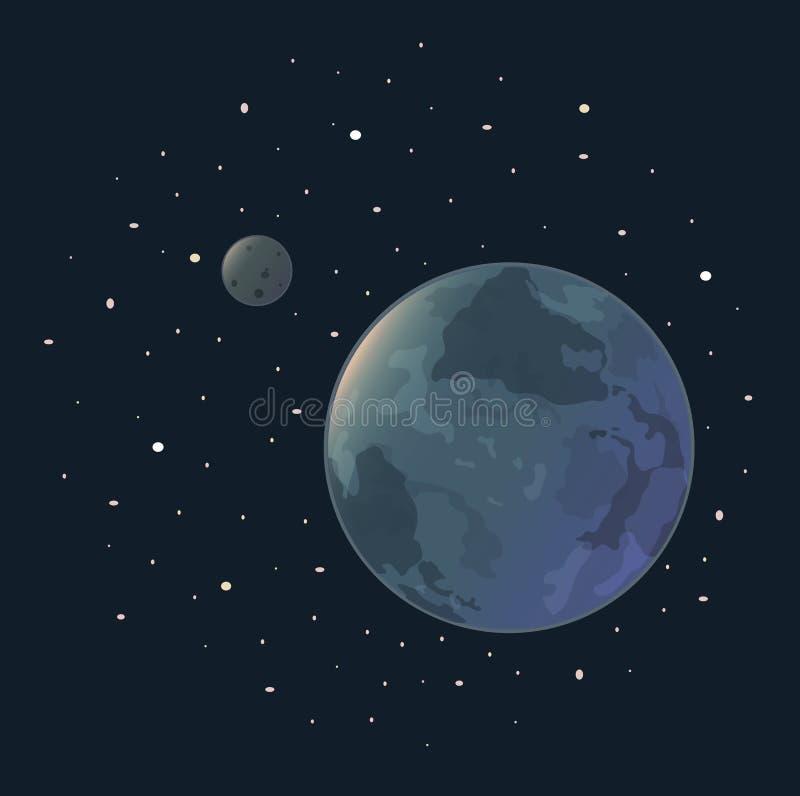 Jord av stjärnor och månen royaltyfri illustrationer