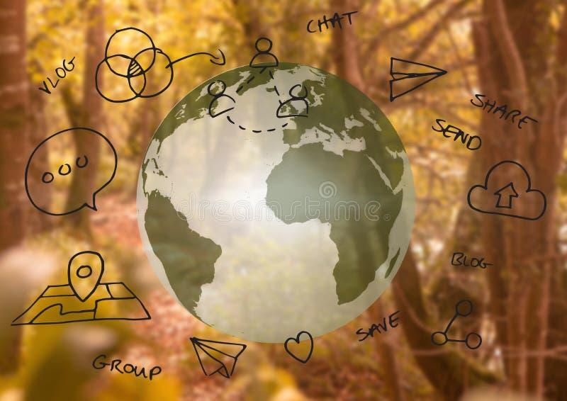 jord 3D och diagram om internet med skogbakgrund royaltyfri illustrationer