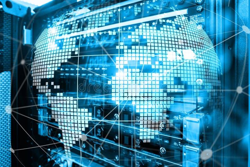 jord 3D som telekommunikation- och internetteknologibegrepp royaltyfri bild