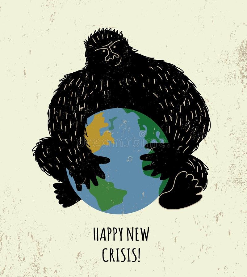 Jord för färg för gorilla för svart för plakat för hotvärldskris royaltyfri illustrationer