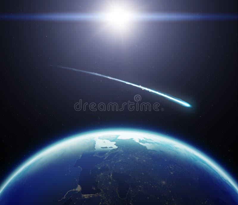 jord för planet 3D med komet och solen Beståndsdelar av detta bildfurni vektor illustrationer