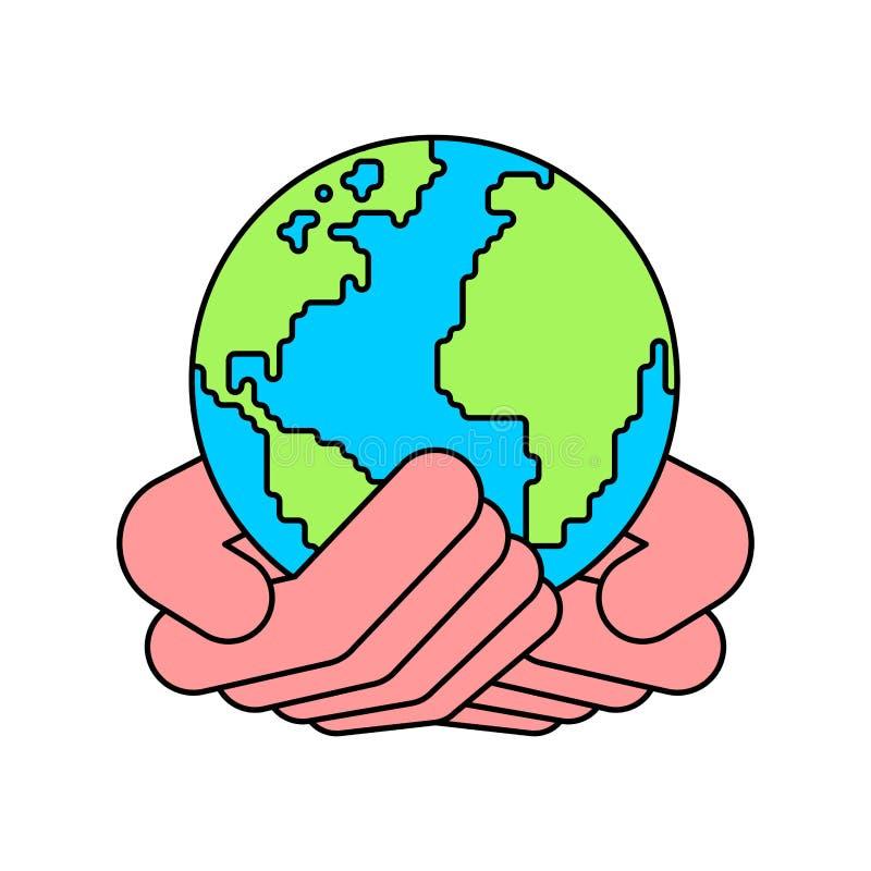 Jord gömma i handflatan in upp Planetvektorillustration vektor illustrationer