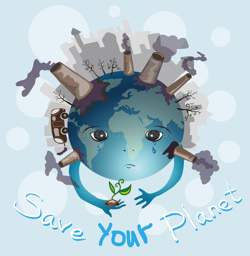 Jord gråter. Spara din planet royaltyfri illustrationer