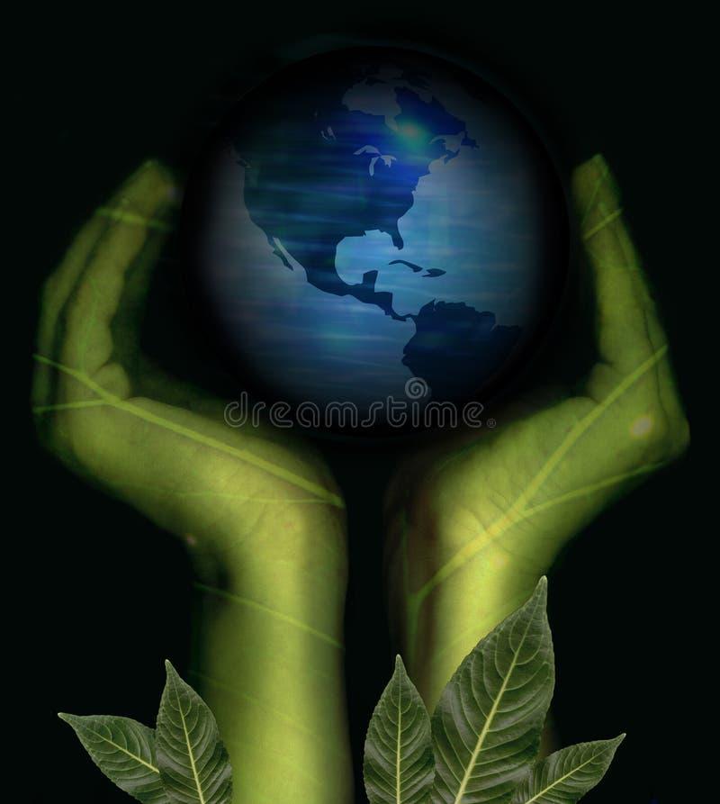 jord hands holdingnaturen royaltyfri illustrationer