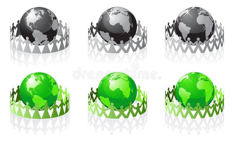 jord har den folk omgivna vektorn stock illustrationer