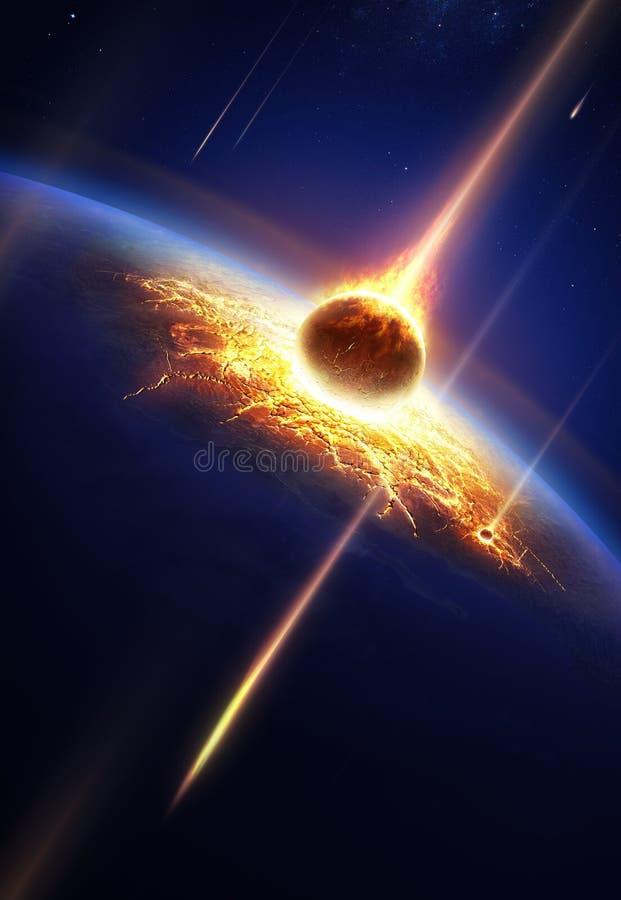 Jord i en meteordusch stock illustrationer