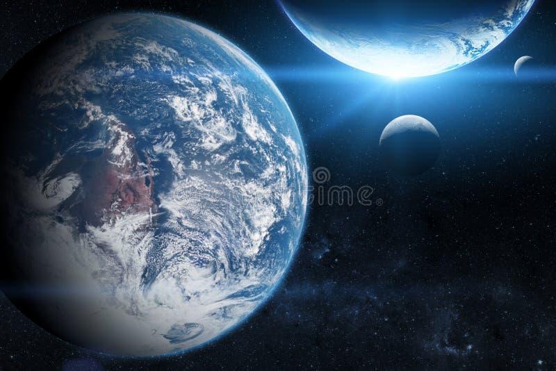 Jord i yttre rymden med den härliga planeten blå soluppgång Beståndsdelar av denna avbildar möblerat av NASA royaltyfri fotografi