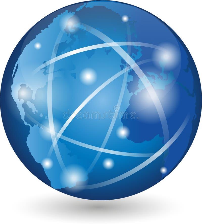 Jord jordklot, världsjordklot, logo, tecken stock illustrationer