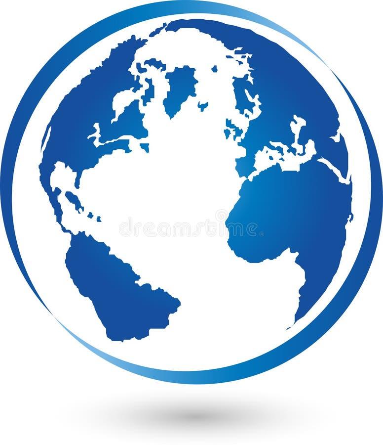 Jord jordklot, världsjordklot, logo, tecken vektor illustrationer