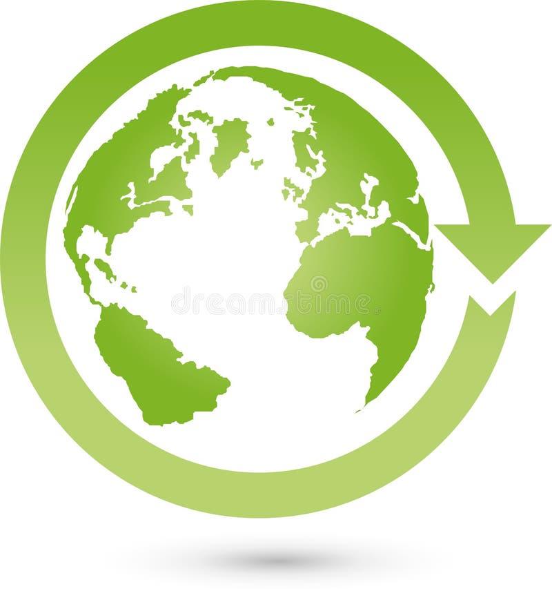 Jord, jordklot, världsjordklot och pil, jordlogo royaltyfri illustrationer