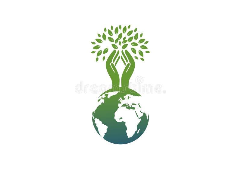 Jord jordklot, vektor för logo för moderjord stock illustrationer