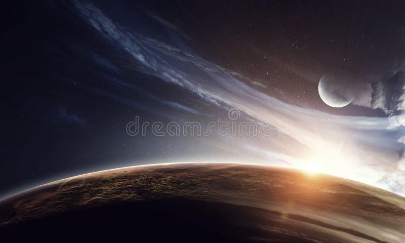 Jord, måne och stjärnor på blå mörk himmel arkivfoto