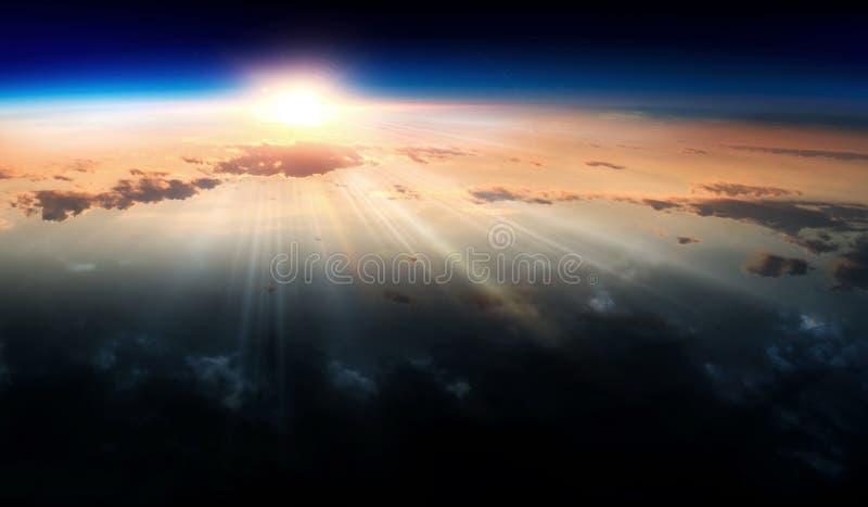 Jord med soluppgång på blå utrymmebakgrund royaltyfri fotografi