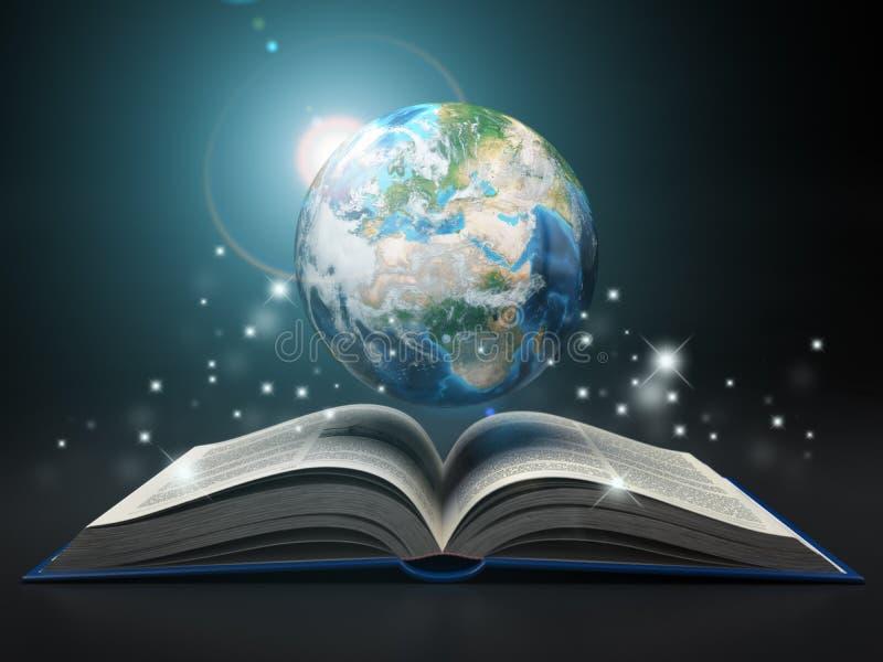 Jord och öppnar boken Utbildningsinternete 'som lär begrepp royaltyfri illustrationer