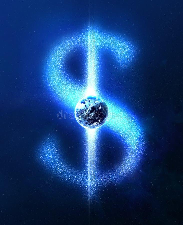 Jord- och dollartecken från stjärnor royaltyfri illustrationer