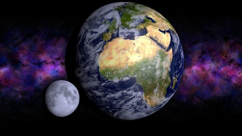 Jord och måne stock illustrationer