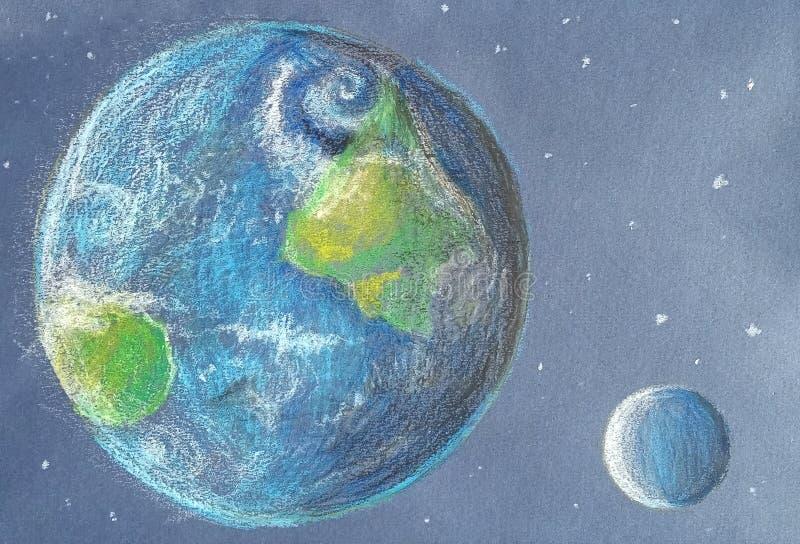 Jord och måne i solljus i färgpennastil royaltyfri illustrationer